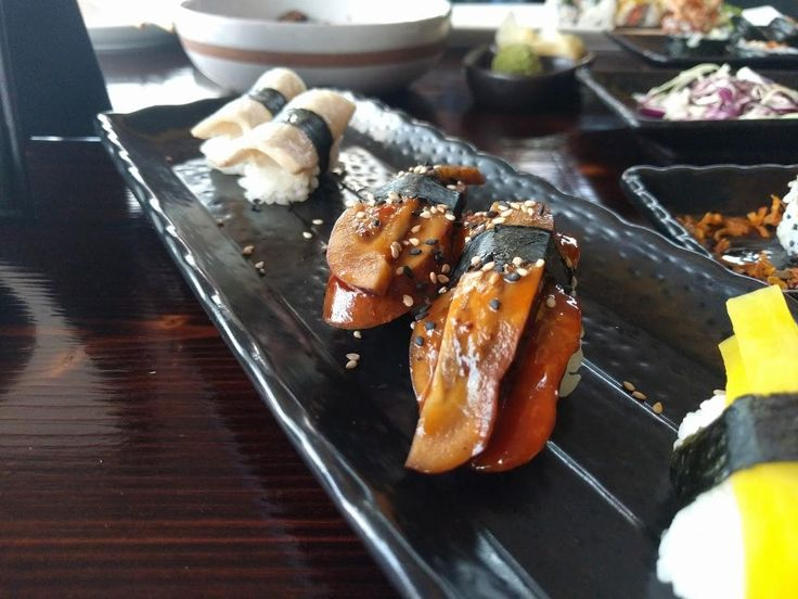 Vegan Sushi! Left to right: King Oyster Mushroom Marinated Eggplant Pickled Daikon - kA sushi - Houston TX #TTDD