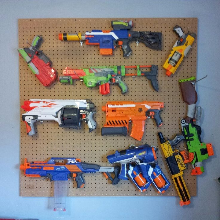 A great way to organize nerf guns (and my kids love having ...