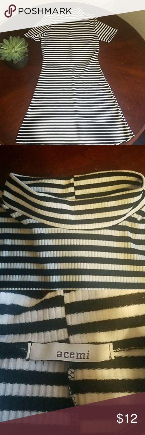 Mock neck bodycon dress Black and white stripe bodycon dress. Acemi Dresses