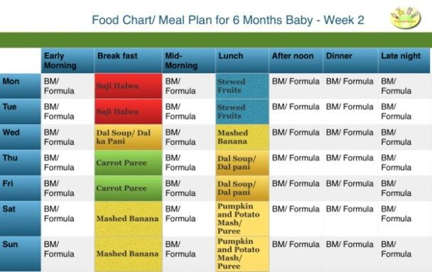 Table of baby foods 6 months   – Solids