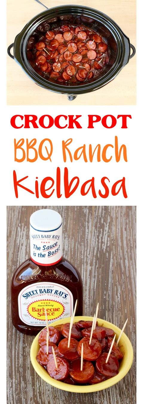 Crockpot Appetizers for a Crowd!  This EASY slow cooker Kielbasa Appetizer is the hit of every party! The BBQ Ranch flavor makes it pretty much irresistible! Just 3 ingredients!! | TheFrugalGirls.com