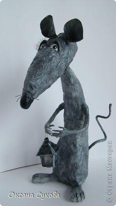 Куклы Папье-маше Крыска с фонариком Бумага фото 1