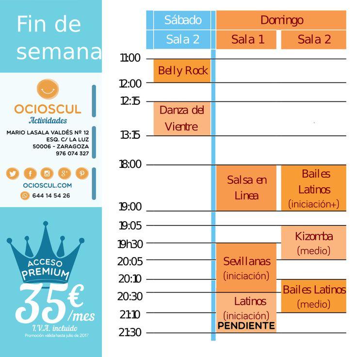Actividades Finde Sábado #DanzaDelVientre #BellyRock Domingo #SalsaEnLinea #Kizomba #BailesLatinos iniciación y medio #Sevillanas iniciación