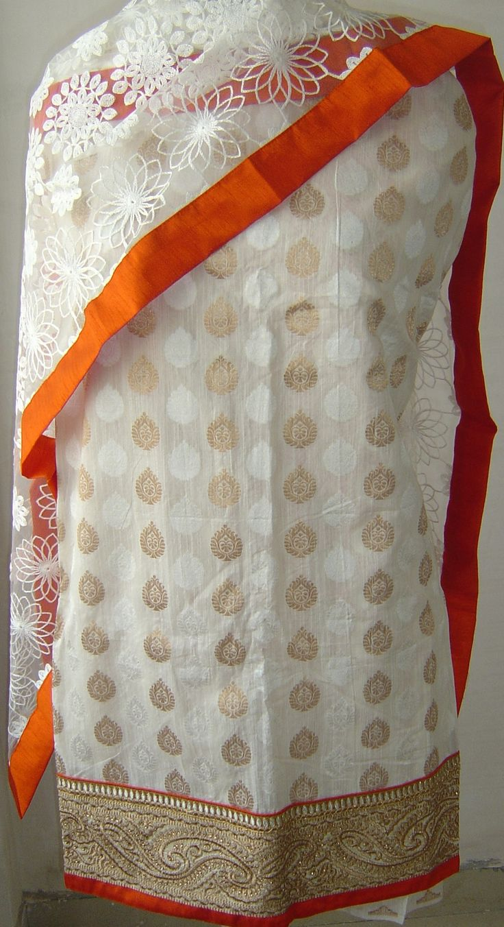 Chanderi suit with zari border & net dupatta with self embroidery all over. For orders and inquiries, please mail us at naari@aninditacreations.com.  Like us at www.facebook.com/naari.aninditacreations