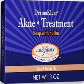 Derma-Klear Akne Treatment Soap 3 Ounces by Enzymatic Therapy. $7.69. 3 Ounces Bar. Serving Size:. DermaKlear AKNE TREATMENT SOAP with SULFUR: Clears up acne blemishes and allows skin to heal. Helps keep skin clear of new acne pimples. Penetrates pores to control acne blemishes, whiteheads, and blackheads. Contains no Benzoyl Peroxide, which can dry the skin.