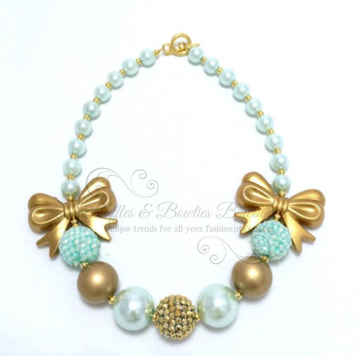 Aqua & Gold Bow Bubble Gum Kids/Baby Necklace & Bracelet Set