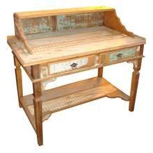 Escrivaninha Colonial em madeira de demolição e acabamento em patchwork com prateleira e 2 gavetas, com puxadores de aço envelhecido