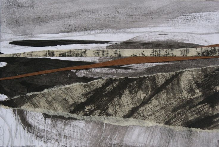 """Original art postcard by Janine Baldwin, pastel, charcoal, graphite and acrylic collage on card, 10x15cm (4""""x6"""") https://www.etsy.com/uk/listing/267616339/seascape-coast-collage-art-yorkshire?ref=shop_home_active_5"""