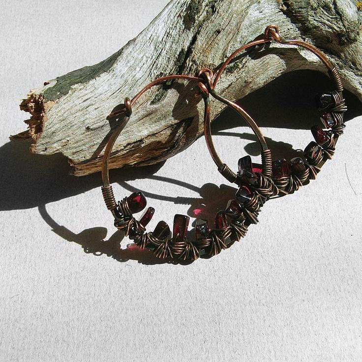 "wire earring Серьги ручной работы. Ярмарка Мастеров - ручная работа серьги ""гранатовые кольца 2"". Handmade."