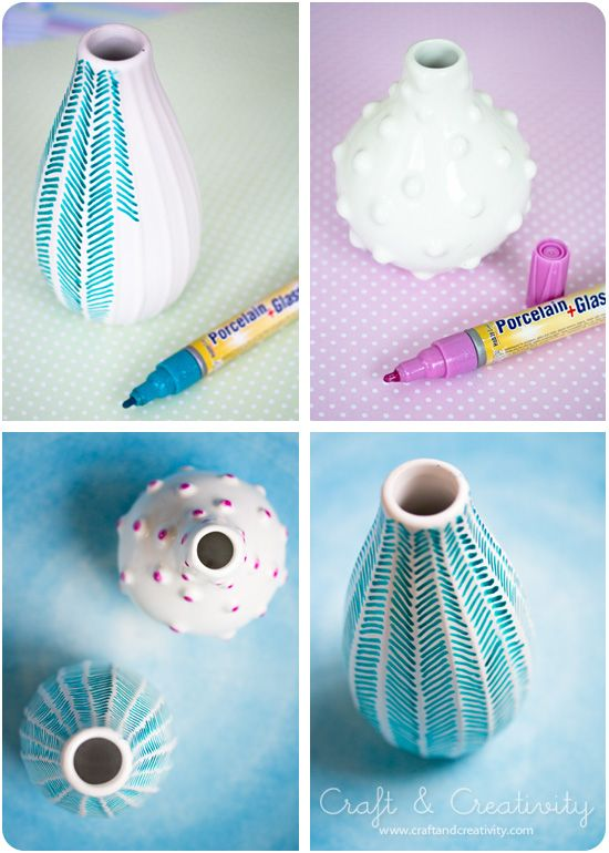 decorating old vases with porcelain pens (love that blue one!) // craft and creativity.