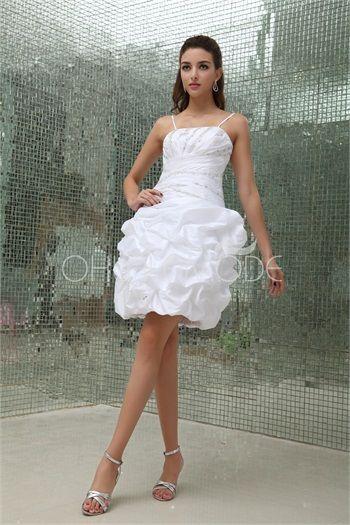 Robe de mariée simple pas cher décoration perlée bouillonnée en satin