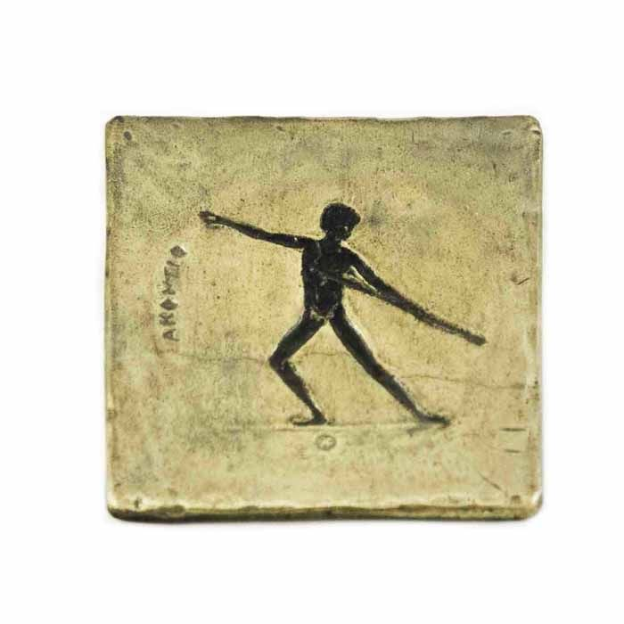 Coaster depicting a sport of ancient Olympics, the Javelin throw.  In Ancient Olympia it was part of the pentathlon event.  Dimensions: 8cm. X 8m.  Bronze