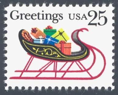 1989_10_19 $.25 This contemporary Christmas stamp depicts a sleigh with gifts. The stamp was designed by Steven Dohanos