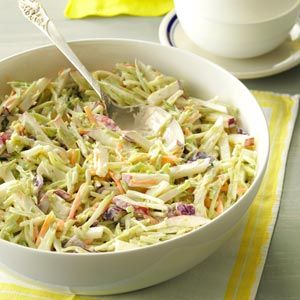 Broccoli Slaw with Lemon Dressing Recipe -Our family absolutely loves broccoli, so I'm so happy there's finally a slaw mix in stores that uses broccoli stems. I like this slaw best after 20 minutes or so to allow the flavors to meld. —Donna Marie Ryan, Topsfield, Massachusetts
