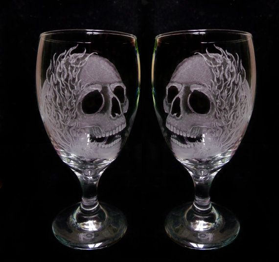Superior Wine Glasses , Skulls And Flames , Set Of Two Hand Engraved Glass Goblets  Custom Barware Gift Ideas Halloween Skull Goblets MC