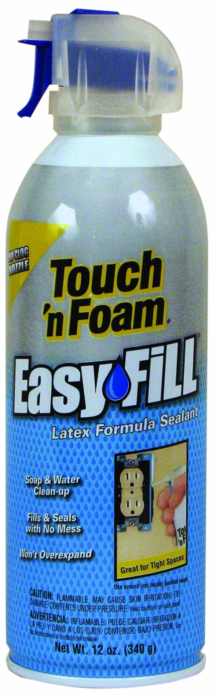 Touch 'n Foam 4001401212 EasyFill Latex Formula Sealant $4.83+5.42 shipping via Amazon. (Needed: Sealant, latex base foam sealant, min expand, water clean up, water washable, and paint-able)