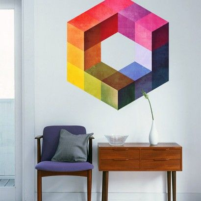 Geometric Mid Century Modern - Moon Wall Stickers #moonwallstickers #midcentury #cubes #forms #eames #stickers #decals #walldecals