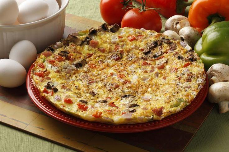 Egg Fritatta Pizza with fresh vegetables