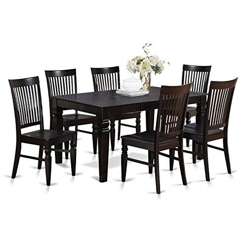Matching black finish wood dining table set having nice beveled table edge on trim. Traditional rectangular kitchen table having four legs. Recessed details on ...