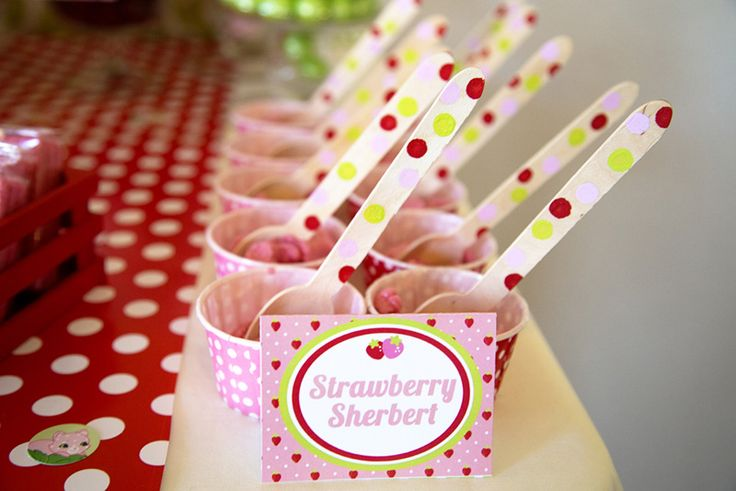 Strawberry Party with Strawberry Sherbert and solid wooden spoons from Hobby Lobby and then used a tiny foam dot paint brush and some acrylic paint to create polka dots! Easy, affordable, and quick.
