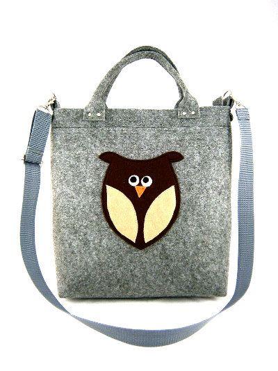 Handbag Owl handbag Owl purse Bag with owl Felt by Torebeczkowo, #Handbag #Womenbag , #owltbag