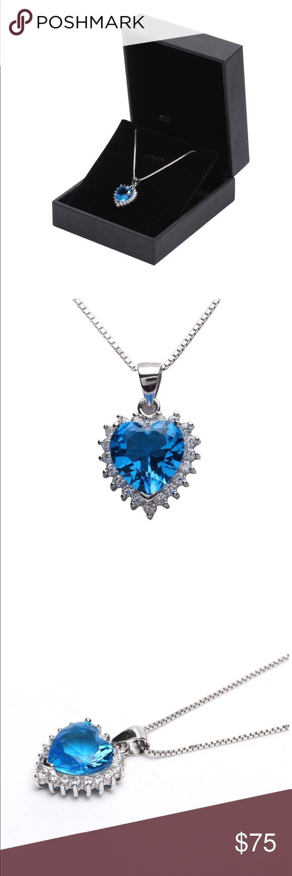 Heart of the ocean necklace silver brand new Pendant size: 0.65 inch WIDTH * 0.85 inch HEIGHT Box chain with lobster clasp Length of the chain: 18 inch (45cm) Pendant and chain both are silver, plated with rhodium (a member of the platinum group). Jewelry Necklaces