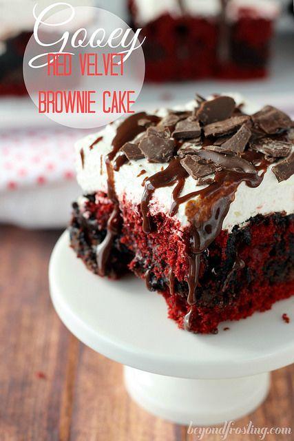 Gooey Red Velvet Brownie Cake | beyondfrosting.com | #redvelvet #brownie #pokecake by Beyond Frosting