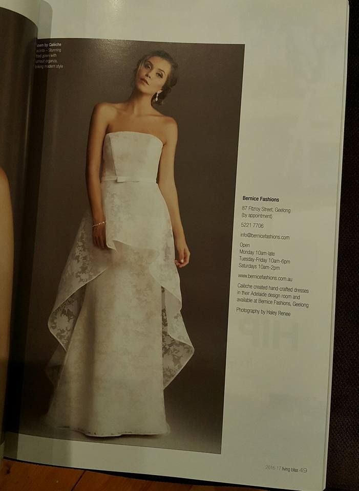 The Calèche 'Jacinta' gown from the Magnolia collection featured recently through stockist Bernice in Living Bliss magazine.