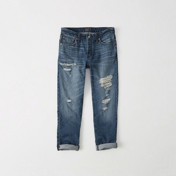 Abercrombie & Fitch Low-Rise Slim Boyfriend Jeans ($88) ❤ liked on Polyvore featuring jeans, ripped medium wash, distressed jeans, relaxed fit boyfriend jeans, slim ripped jeans, low rise jeans and ripped boyfriend jeans