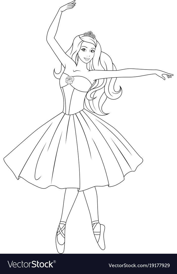 Beautiful Princess Royalty Free Vector Image Vectorstock Barbie Drawing Princess Coloring Pages Disney Princess Coloring Pages