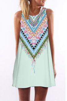 f1cda9c40d Light Blue Random Floral Print Sleevesless Mini Dress | vestidos de ...