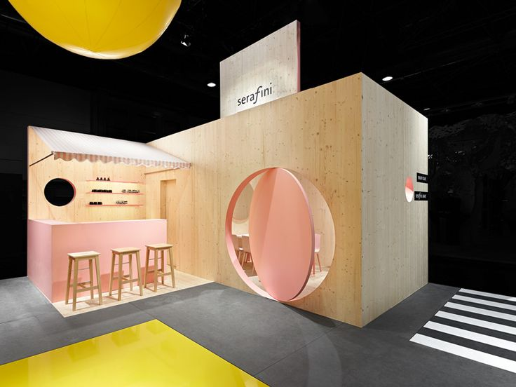 A harmonious color palette combined with wall formations defined serafini's trade fair booth, thus creating a world of its own #serafini #EuroShop2014 #productdesign #fairstand #ExhibitionDesign
