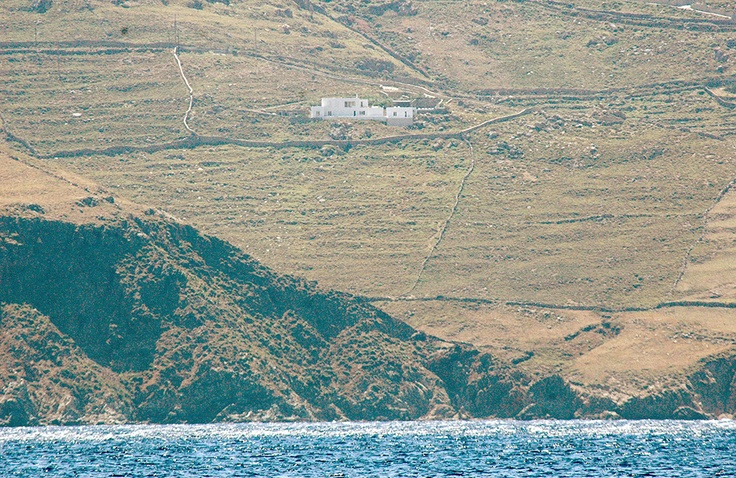 The villa as seen from the opposite beach (Agios Sostis)