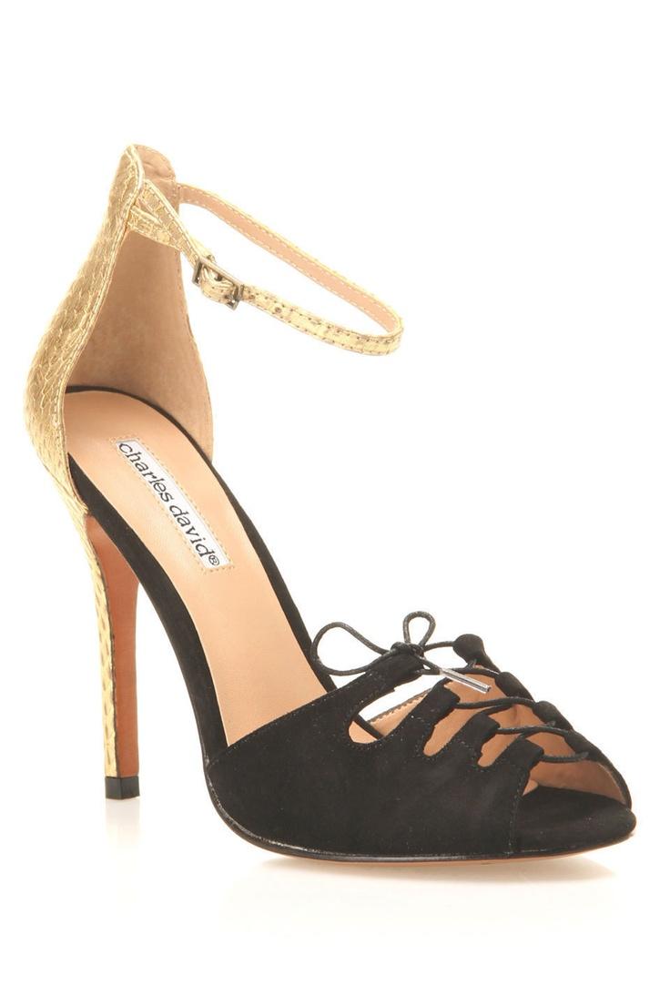 Charles by charles david versus high heel sandals in black suede gold