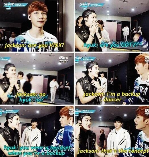 Jackson, the back-up dancer. 》Bless you Jackson for being you ♥ Haha, never fails to make me laugh!