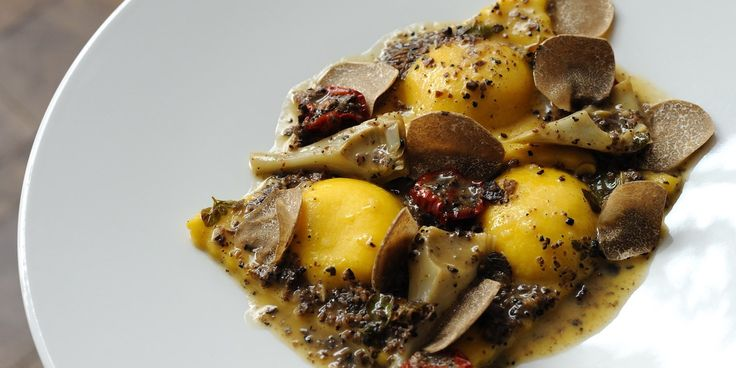Polenta is encased in ravioli in this lovely recipe from Luke Holder. The flavours of the artichoke and truffle are lovely with polenta, creating a tasty dish.