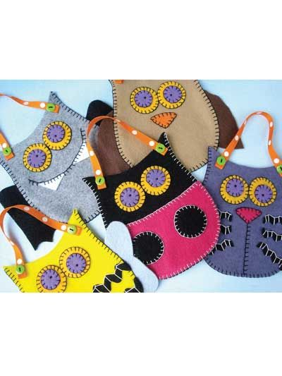 """Felt Pouches - Owl, Bat, Cat, Bee & Ladybug Sewing Pattern Download from e-PatternsCentral.com -- These adorable pouches are simple to make! They are made from 9"""" x 12"""" felt rectangles and make cute gift and treat baskets for parties or other special occasions."""