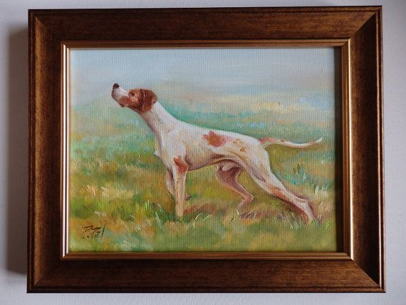 English Pointer in the field. Original Oil Painting by CanisArtStudio. #dog #pointer #portrait #original #oilpainting #petportraits #CanisArtStudio