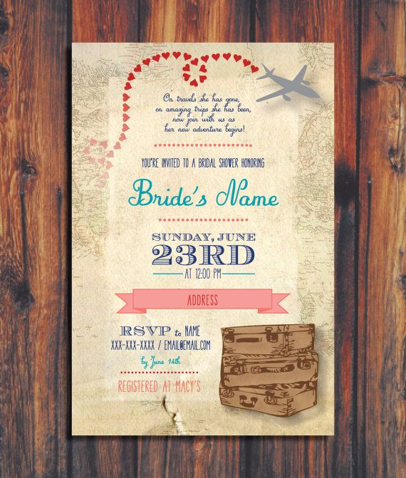 Travel themed invitations -- favorite wording