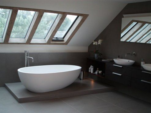 Timber framed roof lights in bathroom