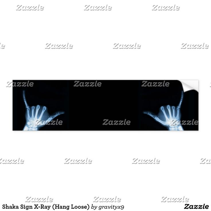 Shaka Sign X-Ray (Hang Loose) Bumper Sticker - Shaka hand sign bumper sticker has plenty of room for you to write a short message.