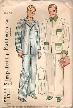 Clea - Simplicity Men Two piece Pajamas Sewing Pattern #1617 - $1.00 : Vintage Collectible Retro and Antiques For Women