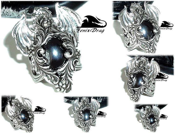 "Ring ""Ice dragon. Gothic"" with a black stone (hematite) Gothic, Steampunk, Vintage styles http://www.livemaster.com/fenixdrag fdrag.ru"