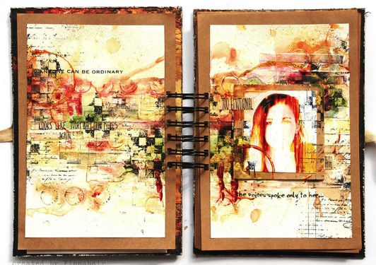 The image above is an example of a personal visual journal and how it can be used to let out emotions and feelings rather than for creative art making practices. The author has included a photograph of herself in the journal to highlight how intimate and personal the documentary is. What's ironic about the photograph is that her face has been manipulated with a large amount of empty spaces, which may symbolise her journey still not being completed.