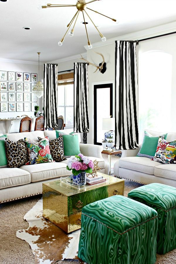 How To Make A Lined Curtain Panel Black And White Striped Curtains Tutorial Bold Living Room Black And White Living Room Curtains Living Room