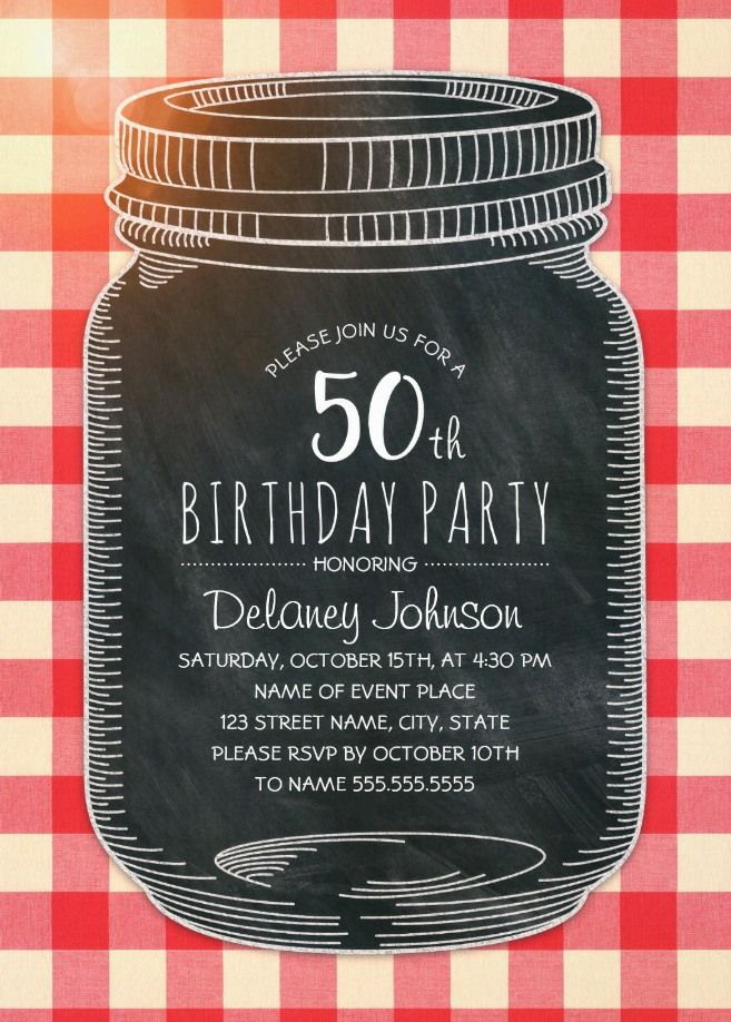 Picnic 50th Birthday Invitations