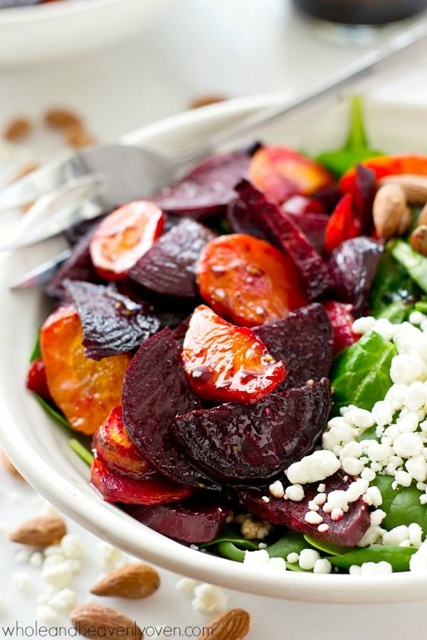 This feel-good, healthy spinach salad is loaded up with plenty of roasted carrots and beets and doused in an unreal maple vinaigrette.---Kick those healthy diets into high gear!