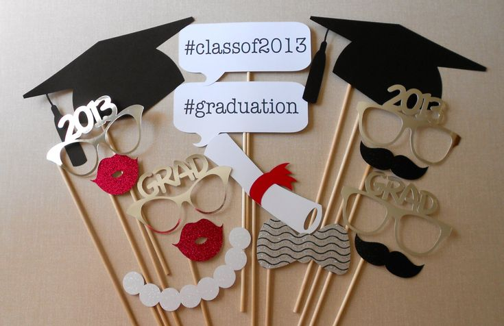 Graduation Photo Booth Props. Graduation Photos. Class of 2013. High School Graduation. College Graduation. Graduation Party. Set of 15.. $34.00, via Etsy.