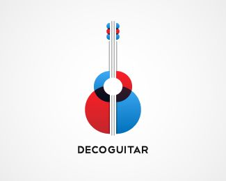 decoguitar Logo design - An Art Deco inspired guitar with a range of flexible layout possibilities. Would suit a guitar tuition website or school, a music retail outlet, a contemporary music forum/blog or a company or organisation looking to draw on the Art Deco aspects of this brand.decoguitar.com included. Price $450.00