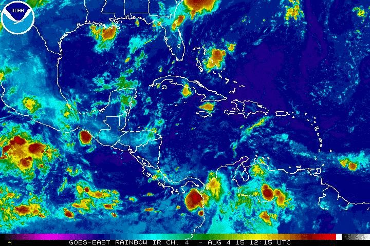 Current Caribbean Cruise Ship Weather Satellite. Cruise Ship Caribbean Port Forecasts.  Large live real time weather graphic  is on our website.